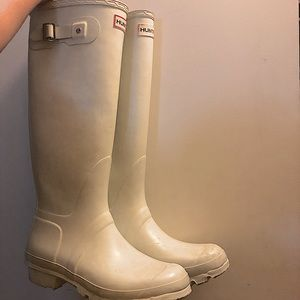 Authentic Hunter Tall Rain Boots in White size 9